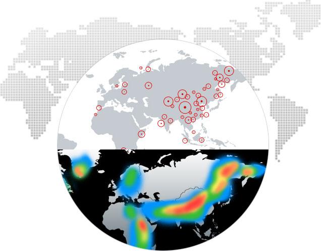 世界地理 通过结合全球地理图形热度图形,可以明显地反映趋势的分布和强弱;而国际标准的全球地理图形,可以精确标注事件的经纬度范围。  真实经纬度 我们通过使用真实的矢量地图数据来描绘各个国家和地区,甚至为某些国家单位制作了省市级别的矢量地图,不仅可以按照需求来标识各个地区的颜色,亦可依据真实经纬度信息进行定位式的数据展示。  第三方地图 若您需要诸如精确定位至街道等高精度定位要求的数据展示,我们会整合经授权的第三方地图信息,并以通常的地图操作模式呈现在您面前。整合第三方地图服务商提供的数据,可以更加灵活以及